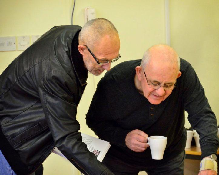 Bernard Davies and Tony Taylor peruse the Manifesto